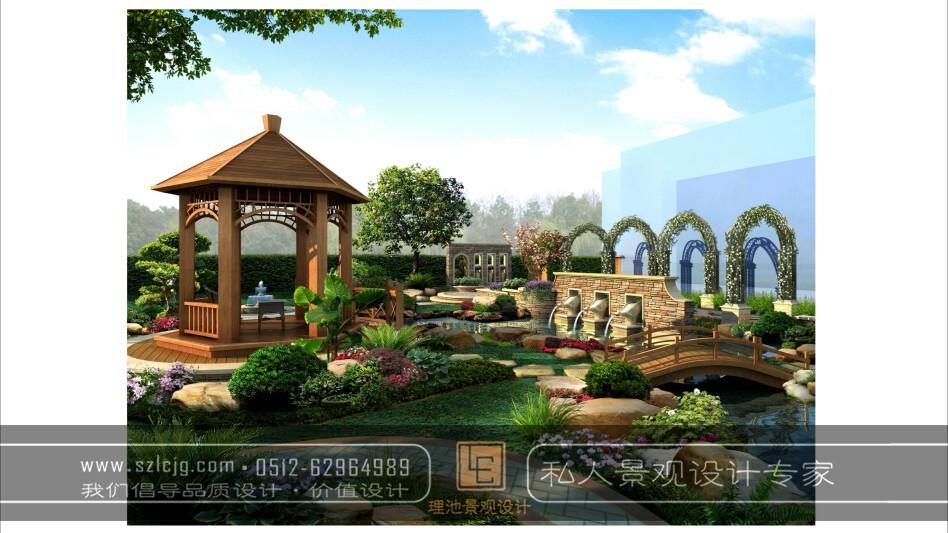 合肥旭辉花园夏女士别墅庭院景观设计_别墅庭院设计