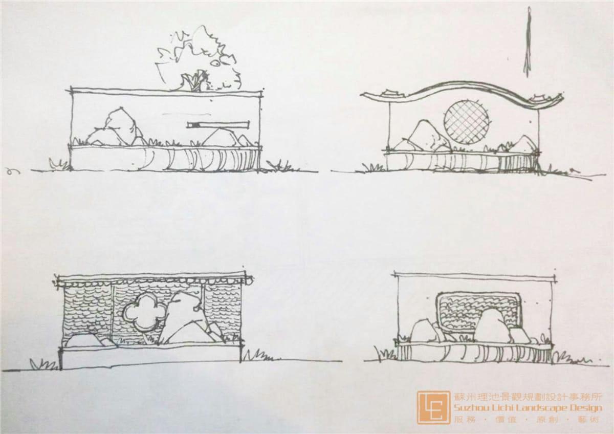 植物的空间营造:         层次上以少而精的搭配方法:乔木层